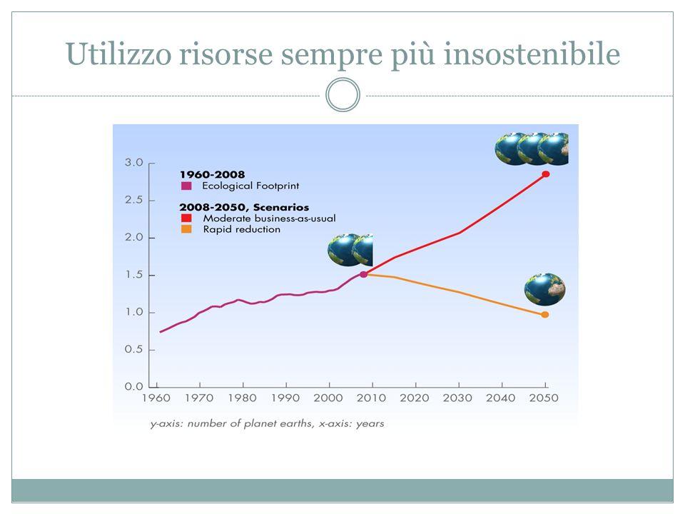 Utilizzo risorse sempre più insostenibile