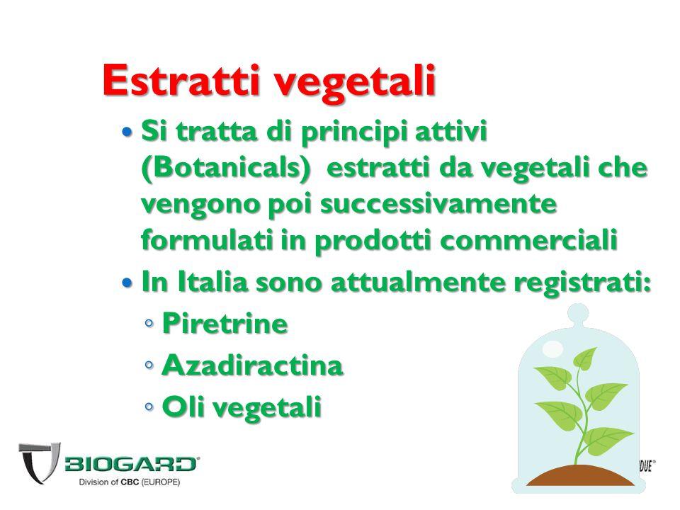Estratti vegetali Si tratta di principi attivi (Botanicals) estratti da vegetali che vengono poi successivamente formulati in prodotti commerciali Si