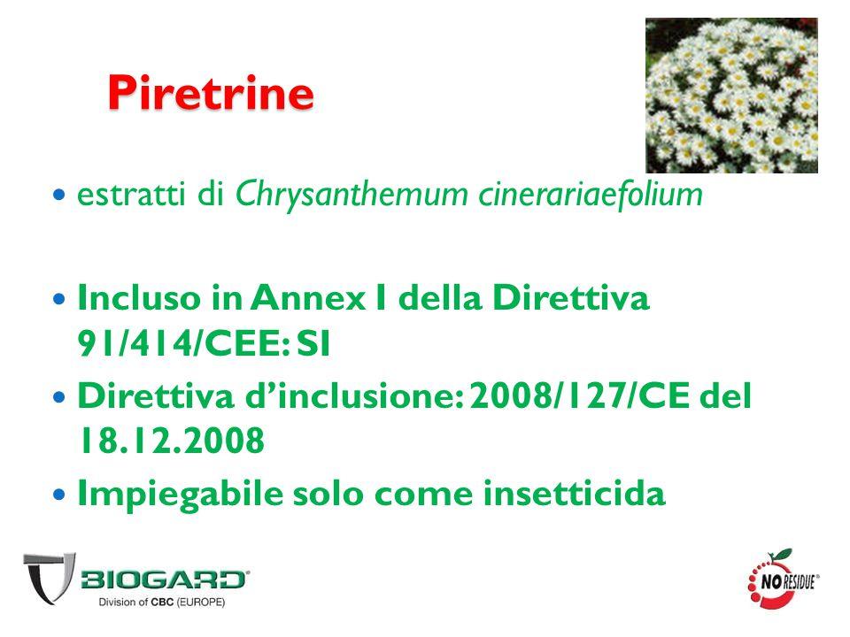Piretrine estratti di Chrysanthemum cinerariaefolium Incluso in Annex I della Direttiva 91/414/CEE: SI Direttiva d'inclusione: 2008/127/CE del 18.12.2