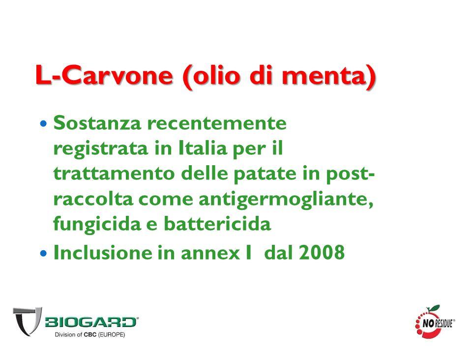 L-Carvone (olio di menta) Sostanza recentemente registrata in Italia per il trattamento delle patate in post- raccolta come antigermogliante, fungicid