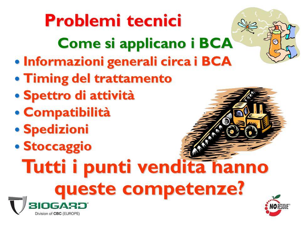 Problemi tecnici Come si applicano i BCA Informazioni generali circa i BCA Informazioni generali circa i BCA Timing del trattamento Timing del trattam
