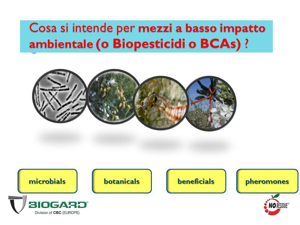 Cosa si intende per mezzi a basso impatto ambientale (o Biopesticidi o BCAs) ? microbialsbeneficialsbotanicalspheromones