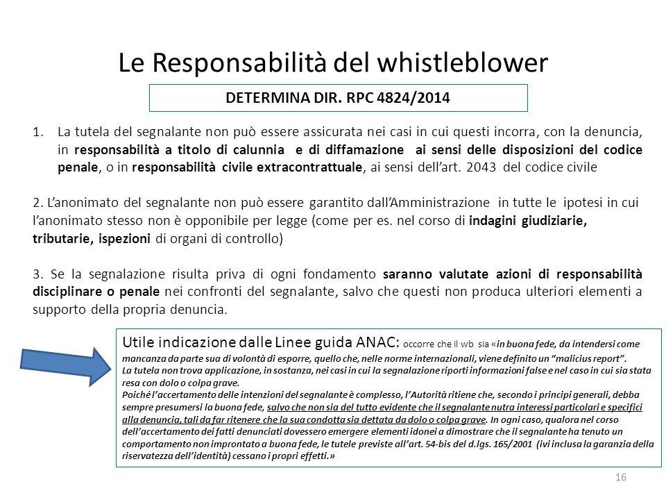 Le Responsabilità del whistleblower 16 1.La tutela del segnalante non può essere assicurata nei casi in cui questi incorra, con la denuncia, in responsabilità a titolo di calunnia e di diffamazione ai sensi delle disposizioni del codice penale, o in responsabilità civile extracontrattuale, ai sensi dell'art.