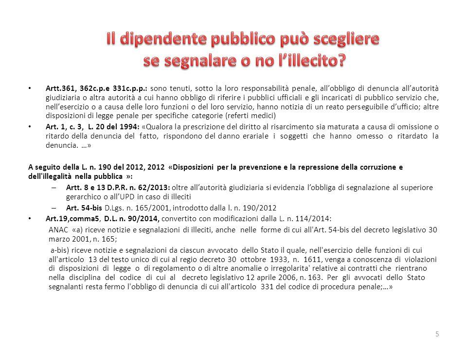 Art.54-bis «Tutela del dipendente pubblico che segnala illeciti» del D.Lgs.
