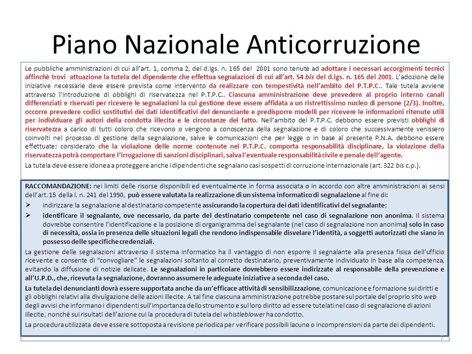 Piano Nazionale Anticorruzione Le pubbliche amministrazioni di cui all'art.