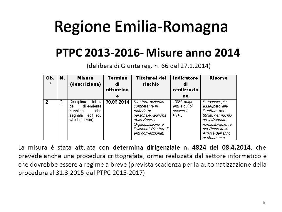 Regione Emilia-Romagna PTPC 2013-2016- Misure anno 2014 (delibera di Giunta reg.