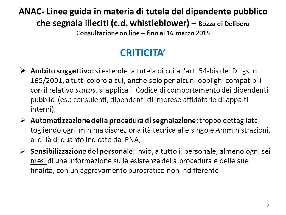 ANAC- Linee guida in materia di tutela del dipendente pubblico che segnala illeciti (c.d.