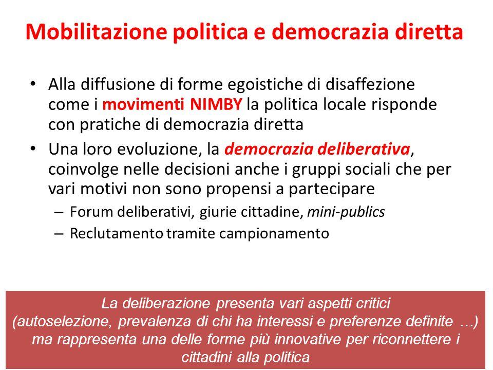 Mobilitazione politica e democrazia diretta Alla diffusione di forme egoistiche di disaffezione come i movimenti NIMBY la politica locale risponde con