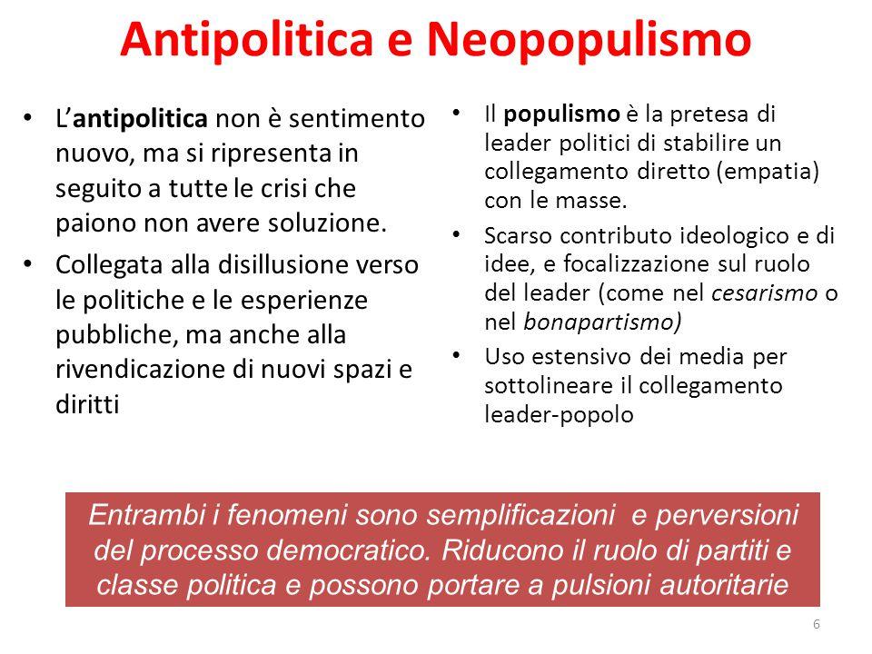 Antipolitica e Neopopulismo L'antipolitica non è sentimento nuovo, ma si ripresenta in seguito a tutte le crisi che paiono non avere soluzione.