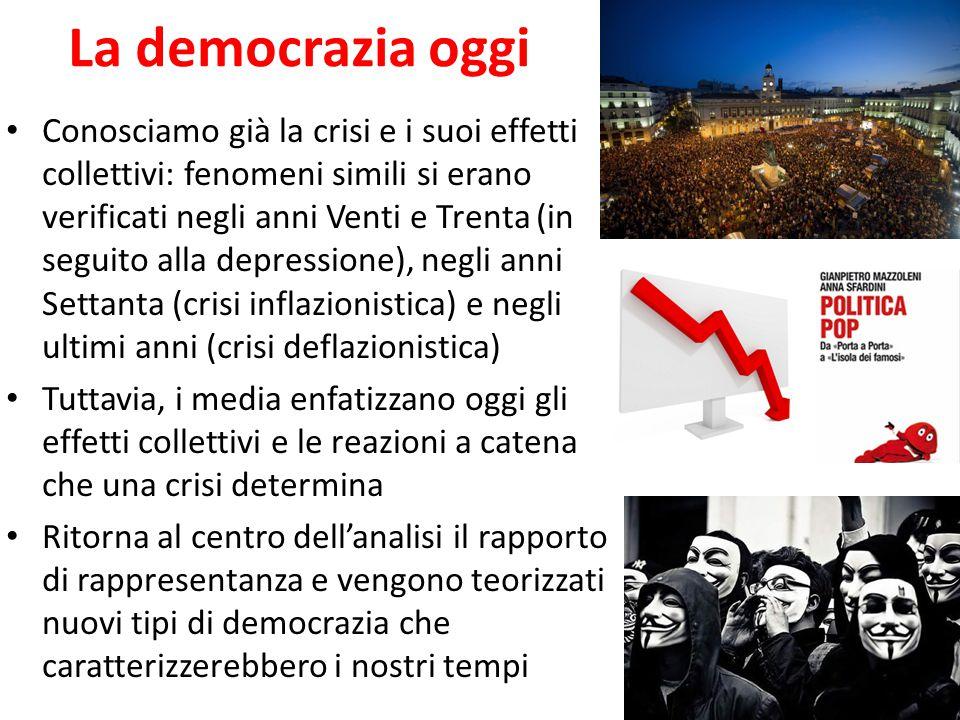 La democrazia oggi Conosciamo già la crisi e i suoi effetti collettivi: fenomeni simili si erano verificati negli anni Venti e Trenta (in seguito alla