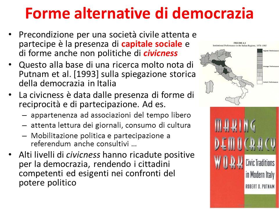 Forme alternative di democrazia Precondizione per una società civile attenta e partecipe è la presenza di capitale sociale e di forme anche non politiche di civicness Questo alla base di una ricerca molto nota di Putnam et al.