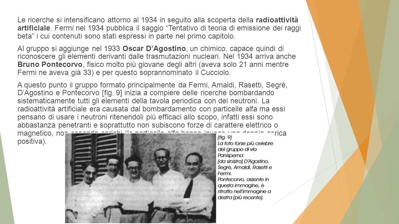 """Le ricerche si intensificano attorno al 1934 in seguito alla scoperta della radioattività artificiale. Fermi nel 1934 pubblica il saggio """"Tentativo di"""