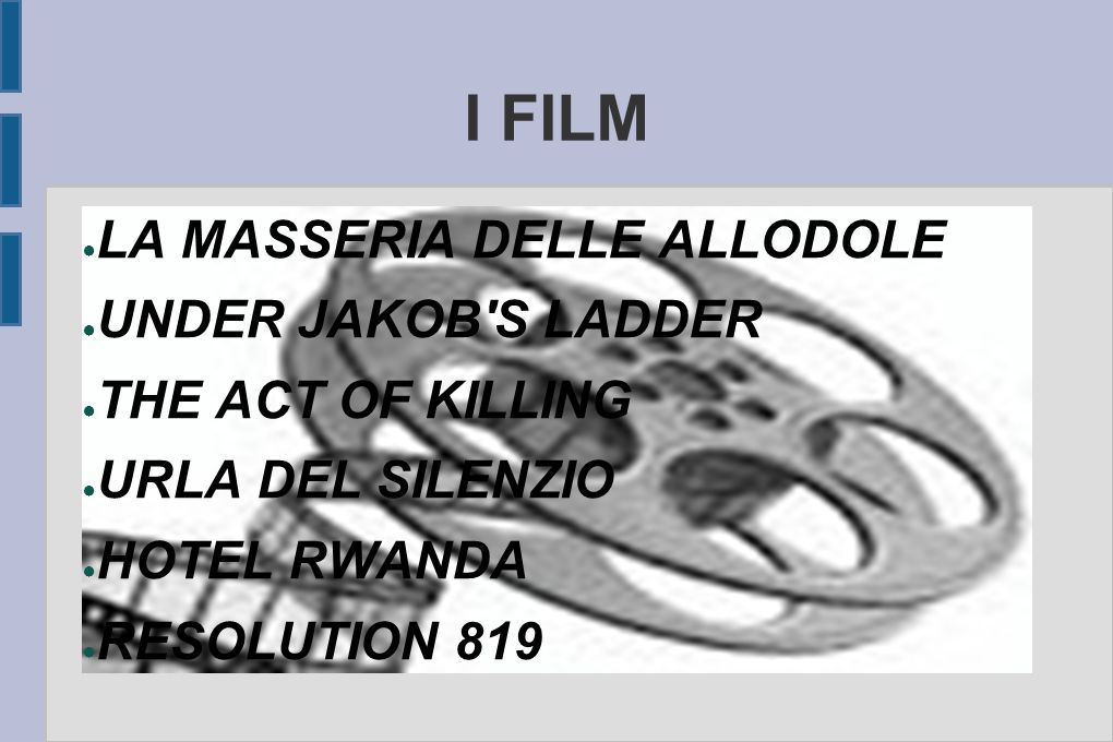 I FILM ● LA MASSERIA DELLE ALLODOLE ● UNDER JAKOB'S LADDER ● THE ACT OF KILLING ● URLA DEL SILENZIO ● HOTEL RWANDA ● RESOLUTION 819