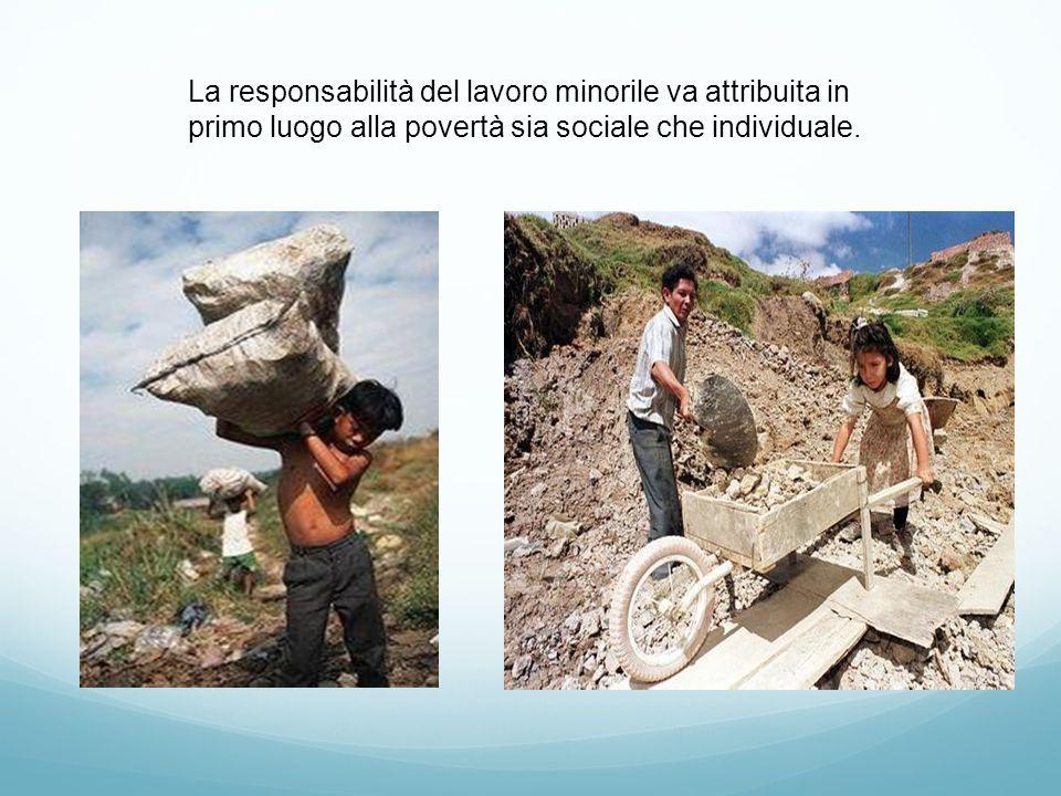 La responsabilità del lavoro minorile va attribuita in primo luogo alla povertà sia sociale che individuale.