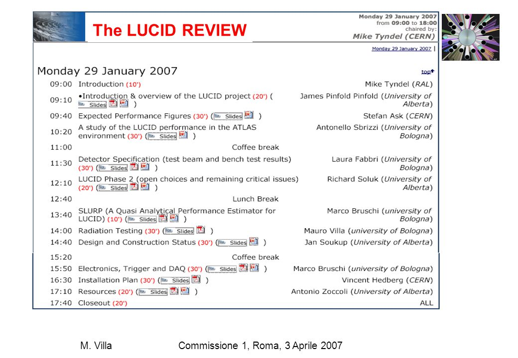 Commissione 1, Roma, 3 Aprile 2007M.Villa Simulation results Threshold cut: total number of p.e.
