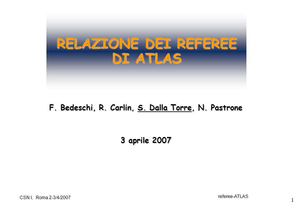 1 referee-ATLAS CSN I, Roma 2-3/4/2007 RELAZIONE DEI REFEREE DI ATLAS F. Bedeschi, R. Carlin, S. Dalla Torre, N. Pastrone 3 aprile 2007