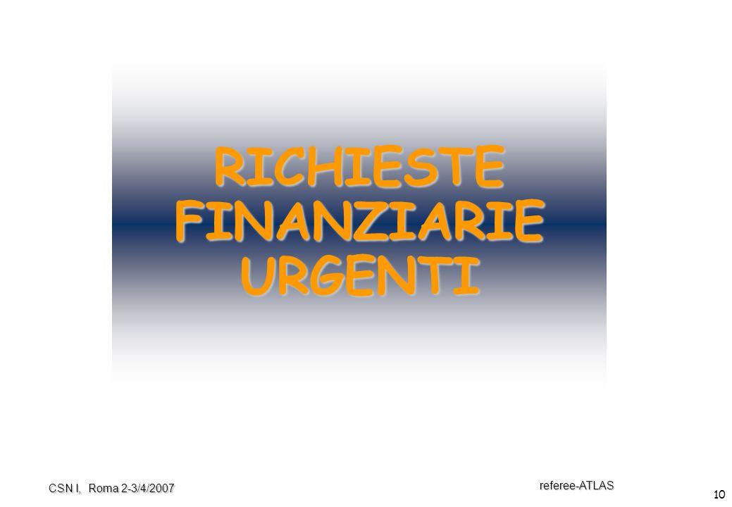 10 referee-ATLAS CSN I, Roma 2-3/4/2007 RICHIESTE FINANZIARIE URGENTI