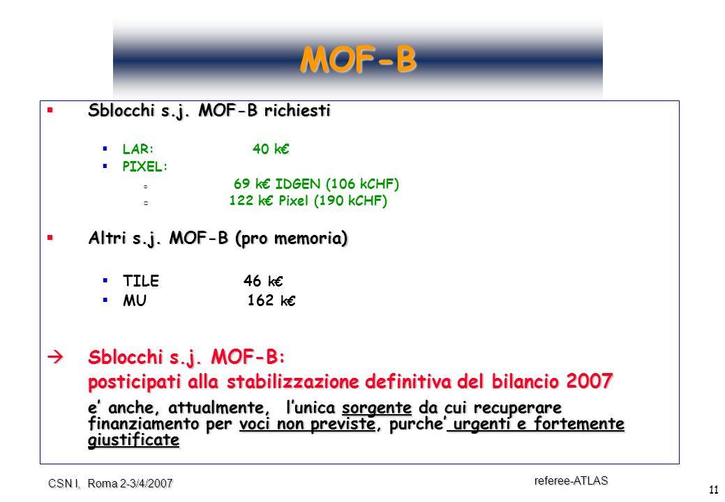 11 referee-ATLAS CSN I, Roma 2-3/4/2007 MOF-B  Sblocchi s.j.