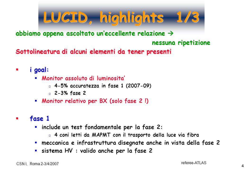 4 referee-ATLAS CSN I, Roma 2-3/4/2007 LUCID, highlights 1/3 abbiamo appena ascoltato un'eccellente relazione  nessuna ripetizione Sottolineatura di alcuni elementi da tener presenti  i goal:  Monitor assoluto di luminosita'  4-5% accuratezza in fase 1 (2007-09)  2-3% fase 2  Monitor relativo per BX (solo fase 2 !)  fase 1  include un test fondamentale per la fase 2:  4 coni letti da MAPMT con il trasporto della luce via fibra  meccanica e infrastruttura disegnate anche in vista della fase 2  sistema HV : valido anche per la fase 2