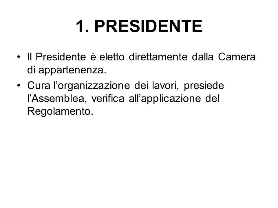 1. PRESIDENTE Il Presidente è eletto direttamente dalla Camera di appartenenza. Cura l'organizzazione dei lavori, presiede l'Assemblea, verifica all'a