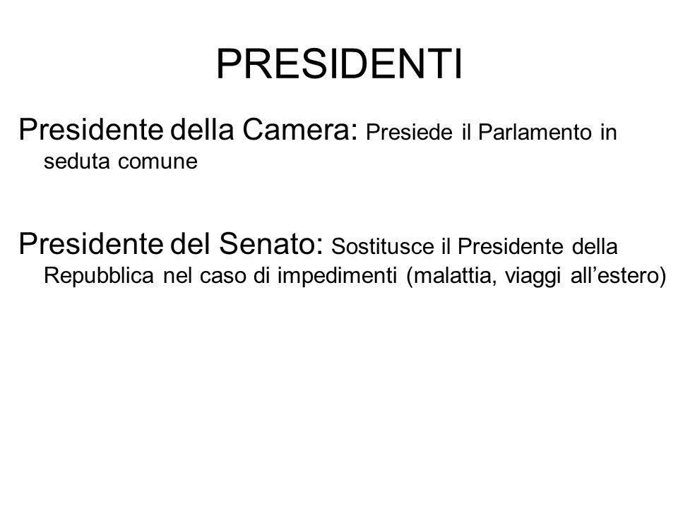 PRESIDENTI Presidente della Camera: Presiede il Parlamento in seduta comune Presidente del Senato: Sostitusce il Presidente della Repubblica nel caso