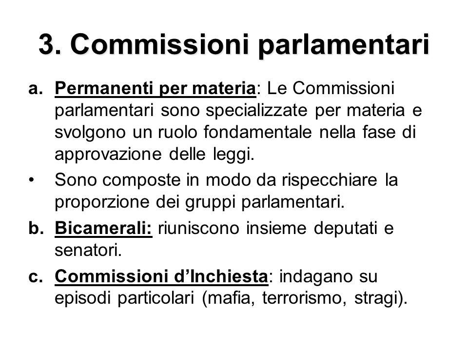 3. Commissioni parlamentari a.Permanenti per materia: Le Commissioni parlamentari sono specializzate per materia e svolgono un ruolo fondamentale nell