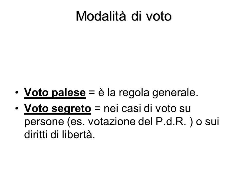 Modalità di voto Voto palese = è la regola generale. Voto segreto = nei casi di voto su persone (es. votazione del P.d.R. ) o sui diritti di libertà.