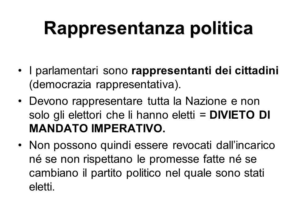 Rappresentanza politica I parlamentari sono rappresentanti dei cittadini (democrazia rappresentativa). Devono rappresentare tutta la Nazione e non sol