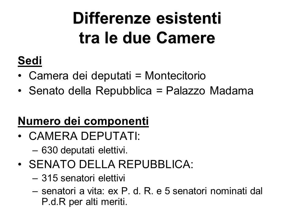Differenze esistenti tra le due Camere Sedi Camera dei deputati = Montecitorio Senato della Repubblica = Palazzo Madama Numero dei componenti CAMERA D