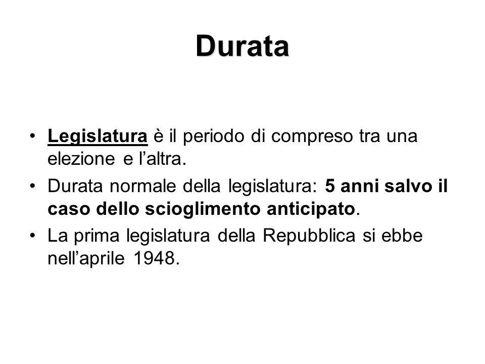 Durata Legislatura è il periodo di compreso tra una elezione e l'altra. Durata normale della legislatura: 5 anni salvo il caso dello scioglimento anti