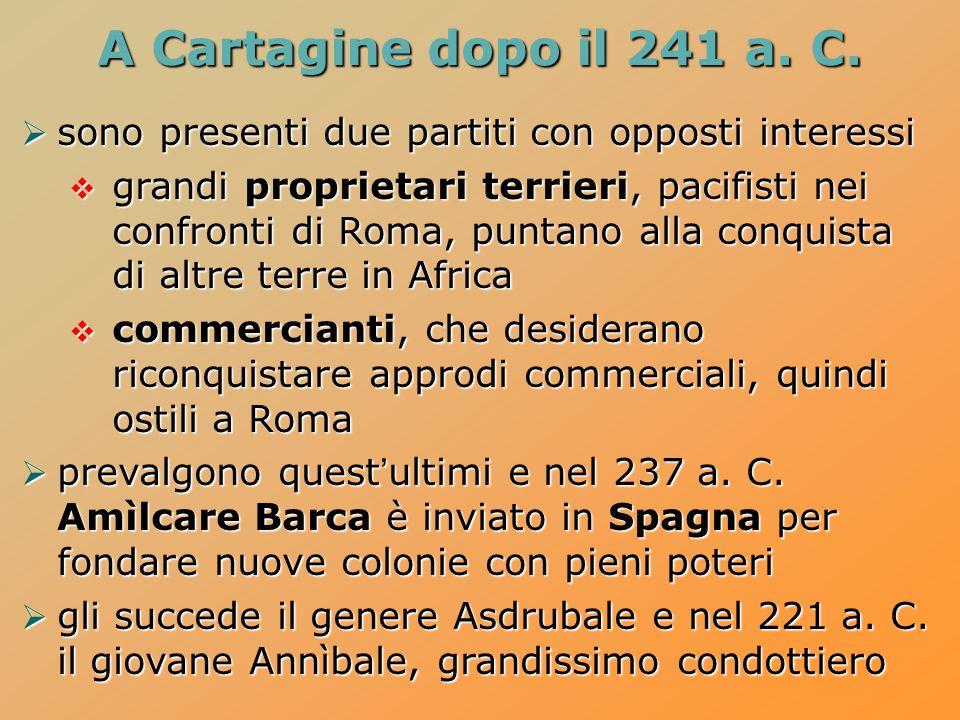 A Cartagine dopo il 241 a. C.  sono presenti due partiti con opposti interessi  grandi proprietari terrieri, pacifisti nei confronti di Roma, puntan