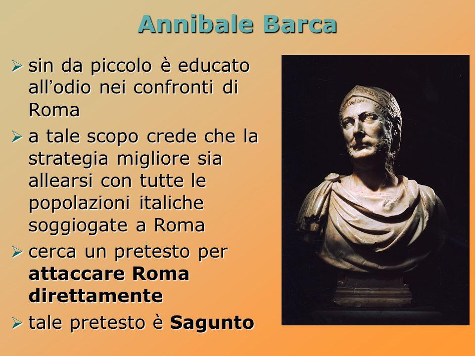 Annibale Barca  sin da piccolo è educato all'odio nei confronti di Roma  a tale scopo crede che la strategia migliore sia allearsi con tutte le popo
