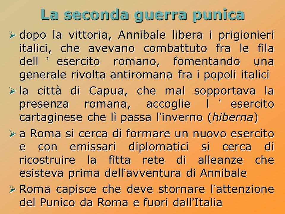 La seconda guerra punica  dopo la vittoria, Annibale libera i prigionieri italici, che avevano combattuto fra le fila dell'esercito romano, fomentand
