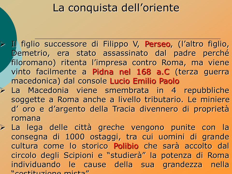  Il figlio successore di Filippo V, Perseo, (l'altro figlio, Demetrio, era stato assassinato dal padre perché filoromano) ritenta l'impresa contro Ro