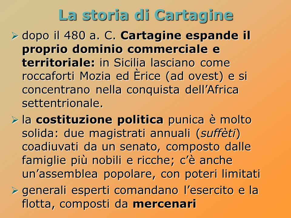  dopo il 480 a. C. Cartagine espande il proprio dominio commerciale e territoriale: in Sicilia lasciano come roccaforti Mozia ed Èrice (ad ovest) e s