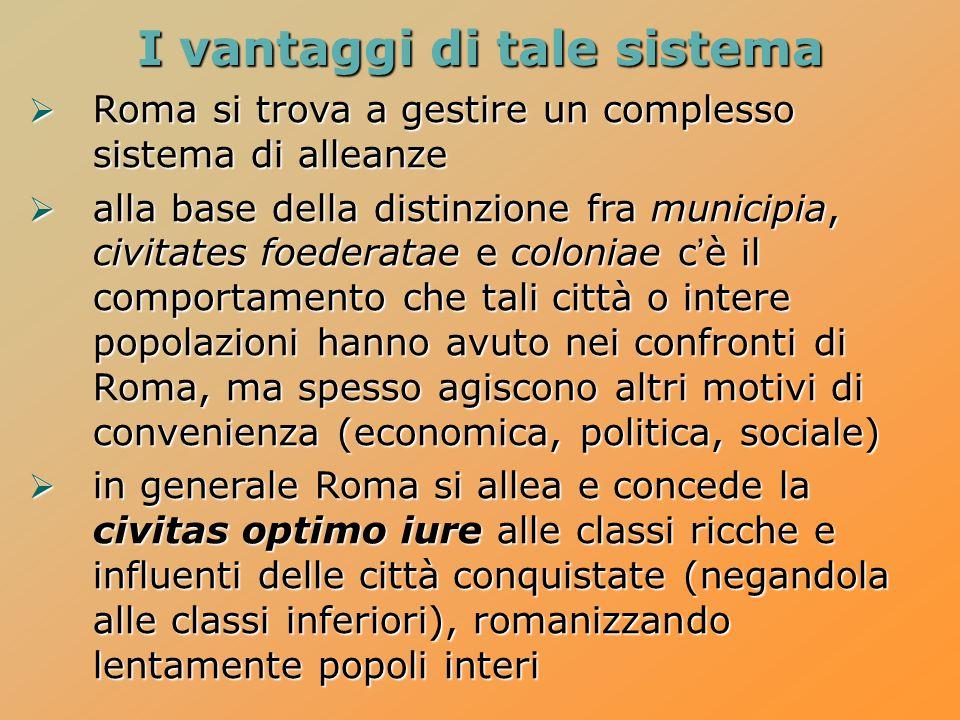  Roma si trova a gestire un complesso sistema di alleanze  alla base della distinzione fra municipia, civitates foederatae e coloniae c'è il comport
