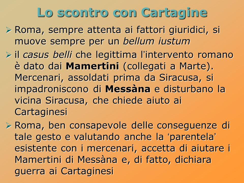 Lo scontro con Cartagine  Roma, sempre attenta ai fattori giuridici, si muove sempre per un bellum iustum  il casus belli che legittima l'intervento