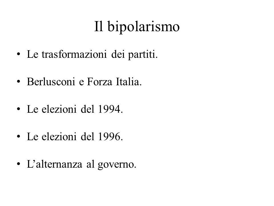 Il bipolarismo Le trasformazioni dei partiti. Berlusconi e Forza Italia. Le elezioni del 1994. Le elezioni del 1996. L'alternanza al governo.