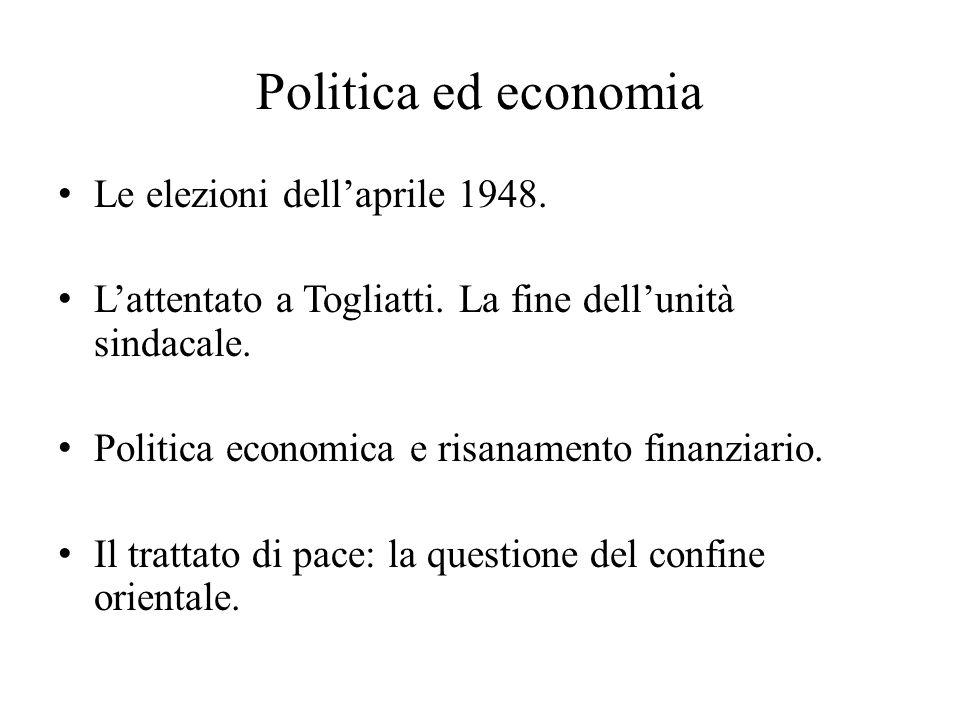 Politica ed economia Le elezioni dell'aprile 1948. L'attentato a Togliatti. La fine dell'unità sindacale. Politica economica e risanamento finanziario