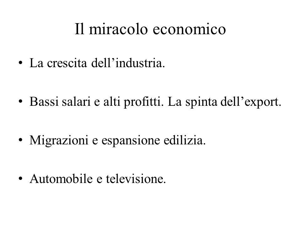 Il miracolo economico La crescita dell'industria. Bassi salari e alti profitti. La spinta dell'export. Migrazioni e espansione edilizia. Automobile e
