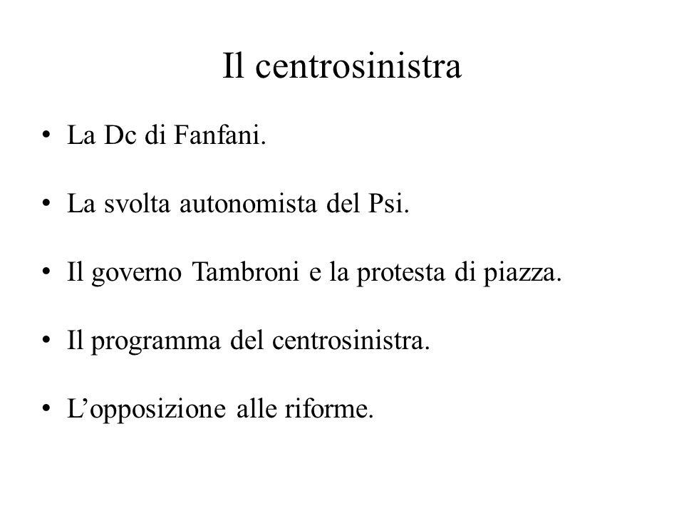 Il centrosinistra La Dc di Fanfani. La svolta autonomista del Psi. Il governo Tambroni e la protesta di piazza. Il programma del centrosinistra. L'opp