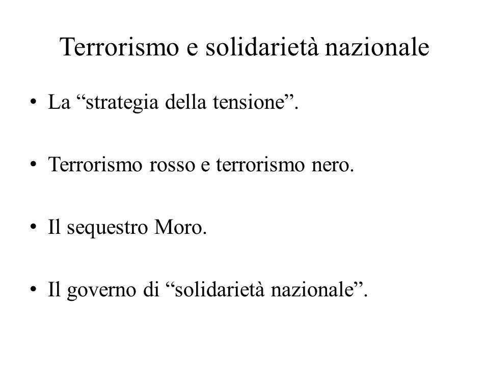 """Terrorismo e solidarietà nazionale La """"strategia della tensione"""". Terrorismo rosso e terrorismo nero. Il sequestro Moro. Il governo di """"solidarietà na"""