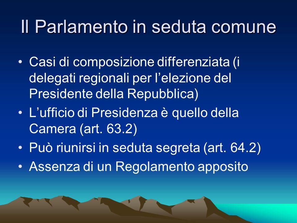 Il Parlamento in seduta comune Casi di composizione differenziata (i delegati regionali per l'elezione del Presidente della Repubblica) L'ufficio di Presidenza è quello della Camera (art.