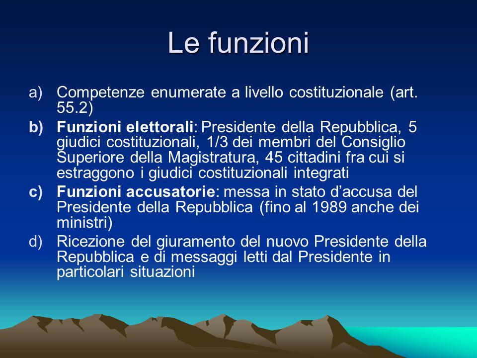 Le funzioni a)Competenze enumerate a livello costituzionale (art. 55.2) b)Funzioni elettorali: Presidente della Repubblica, 5 giudici costituzionali,