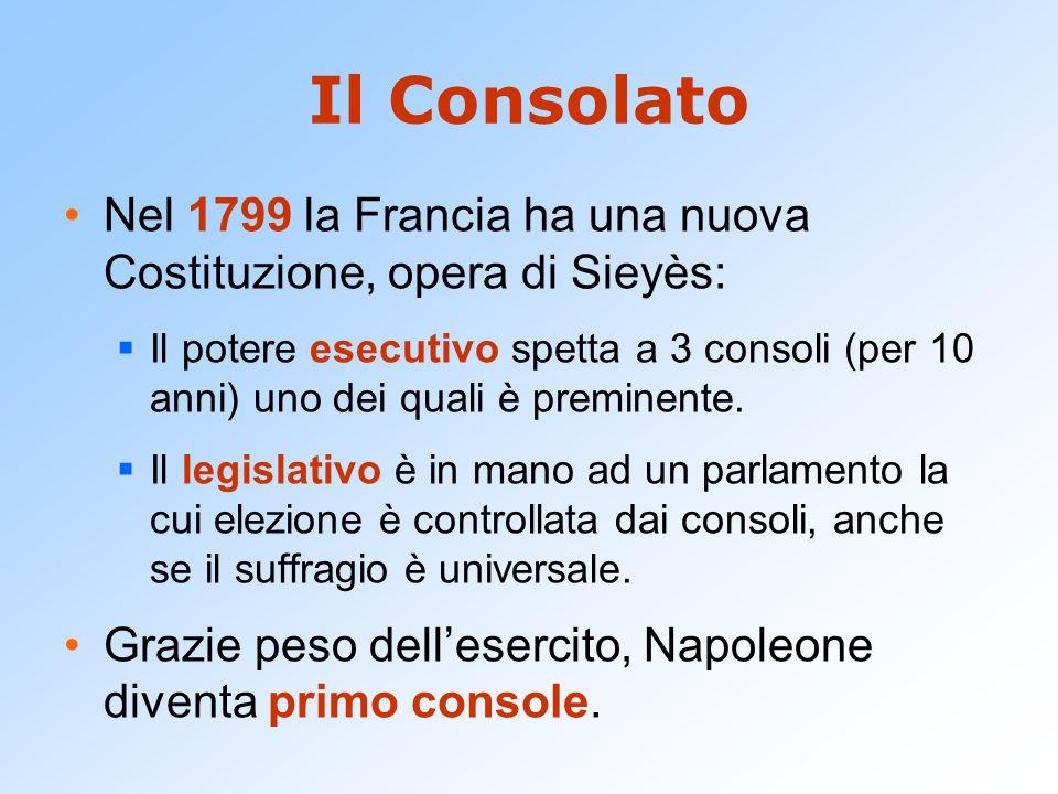 Il Consolato Nel 1799 la Francia ha una nuova Costituzione, opera di Sieyès:  Il potere esecutivo spetta a 3 consoli (per 10 anni) uno dei quali è pr