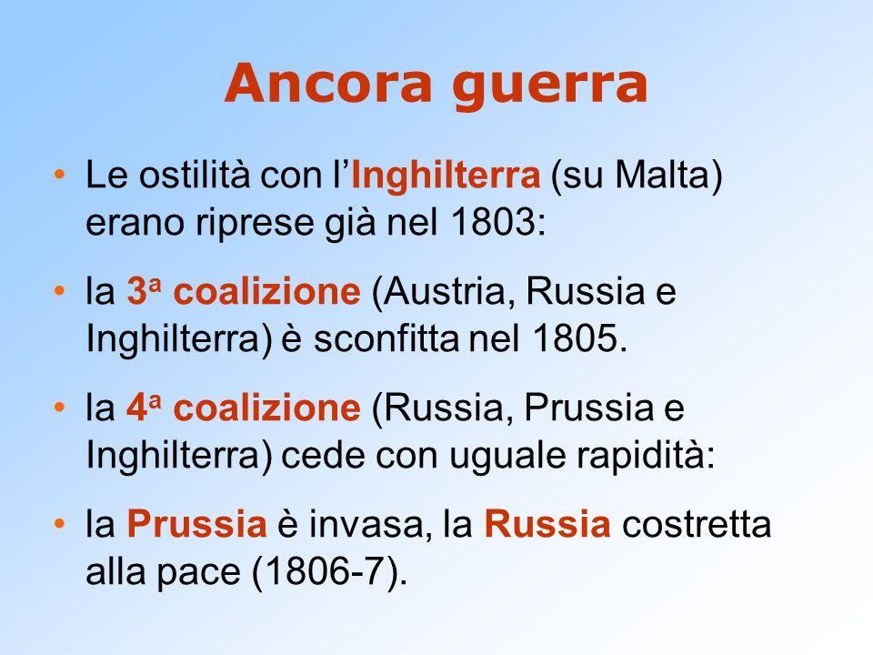 Ancora guerra Le ostilità con l'Inghilterra (su Malta) erano riprese già nel 1803: la 3 a coalizione (Austria, Russia e Inghilterra) è sconfitta nel 1