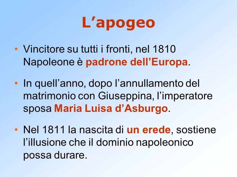 L'apogeo Vincitore su tutti i fronti, nel 1810 Napoleone è padrone dell'Europa. In quell'anno, dopo l'annullamento del matrimonio con Giuseppina, l'im
