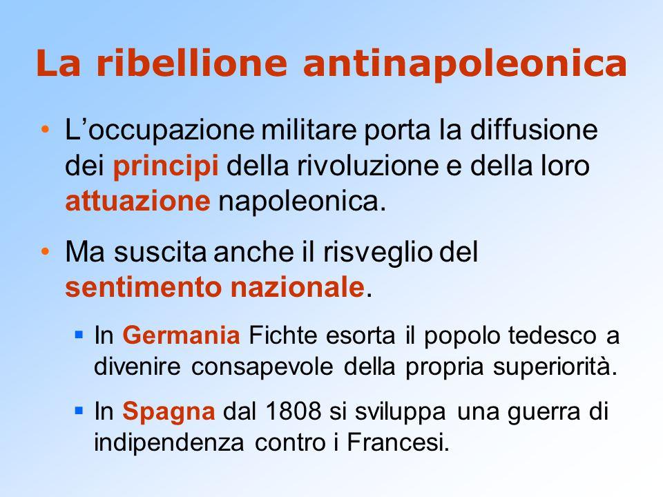 La ribellione antinapoleonica L'occupazione militare porta la diffusione dei principi della rivoluzione e della loro attuazione napoleonica. Ma suscit