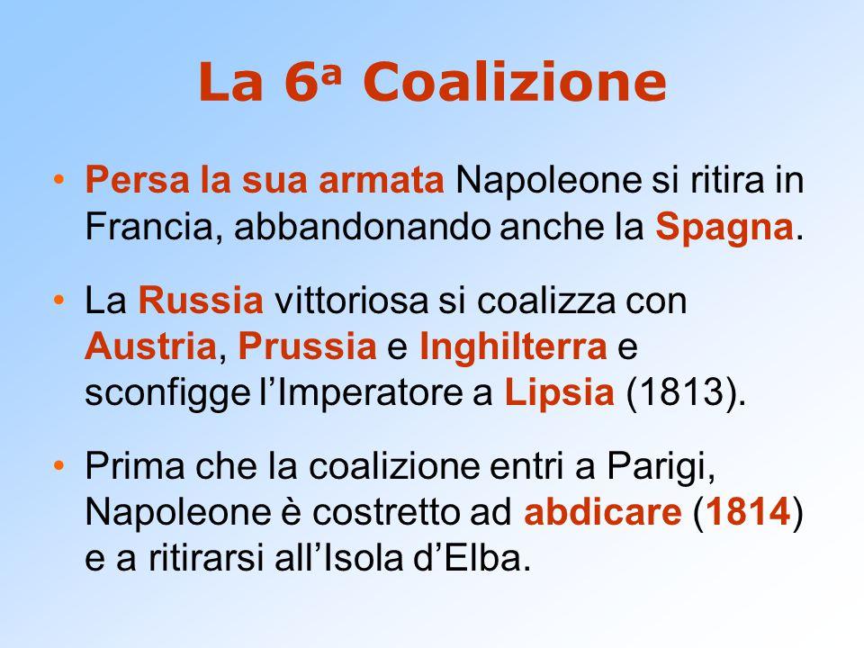 La 6 a Coalizione Persa la sua armata Napoleone si ritira in Francia, abbandonando anche la Spagna. La Russia vittoriosa si coalizza con Austria, Prus