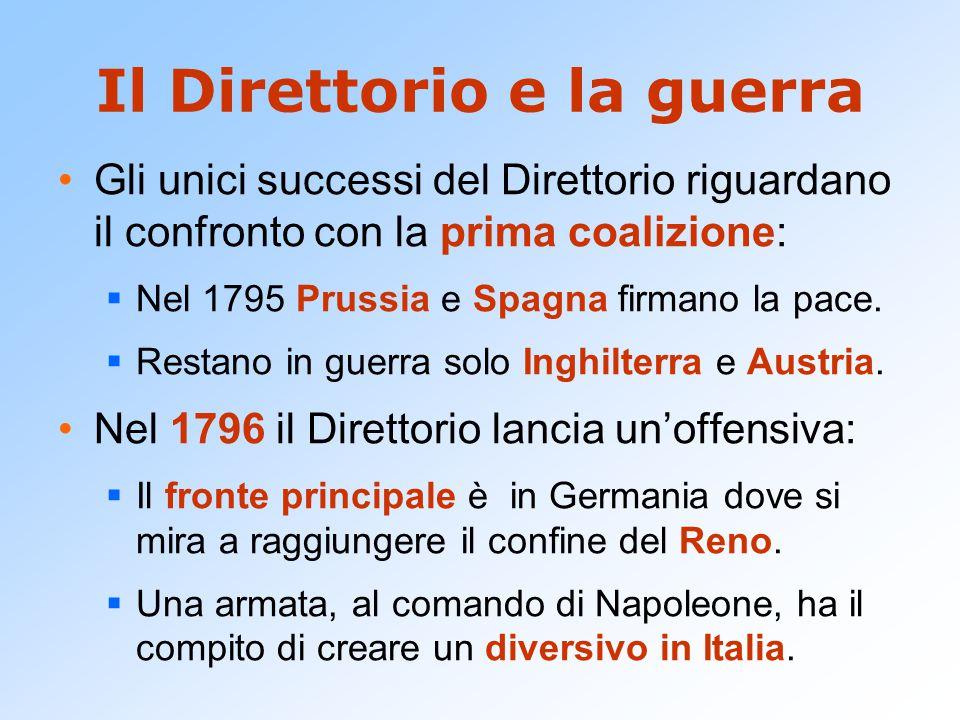 Il Direttorio e la guerra Gli unici successi del Direttorio riguardano il confronto con la prima coalizione:  Nel 1795 Prussia e Spagna firmano la pa